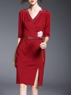 Half Sleeve Cotton-blend Simple V Neck Mini Dress