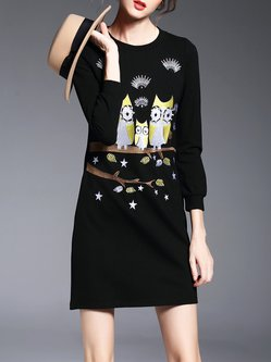 Long Sleeve Crew Neck Casual Cotton-blend Mini Dress
