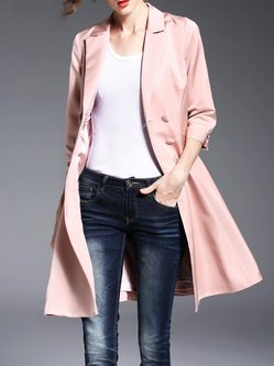3/4 Sleeve Plain Simple Double Breasted A-line Coat
