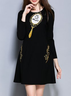 Black Beaded A-line Casual Embroidered Mini Dress
