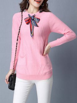 Knitted Bow Pockets Casual Plain Sweater