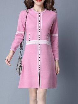 Knitted Slit Long Sleeve Sweater Dress