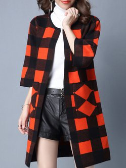 Orange Checkered/Plaid Casual Color-block Coat