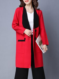 Knitted Pockets Long Sleeve Casual Coat