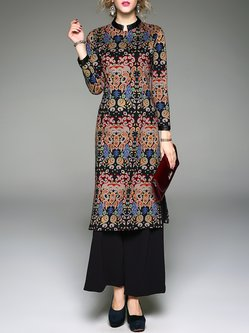 Stand Collar Vintage Slit Paneled Printed Two Piece Tunic