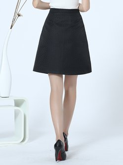 Black-white Polyester A-line Casual Midi Skirt - StyleWe.com