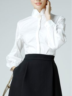 White Elegant Solid Stand Collar Blouse