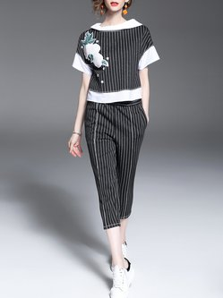 Short Sleeve H-line Stripes Casual Two Piece Jumpsuit