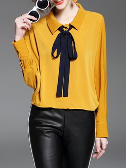 Yellow Long Sleeve Tie Solid Shirt Collar Blouse