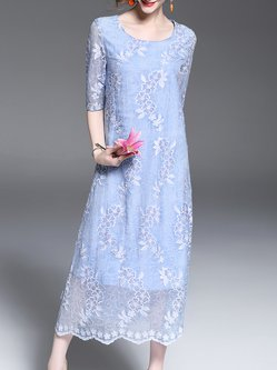 Blue Crew Neck A-line 3/4 Sleeve Embroidered Midi Dress
