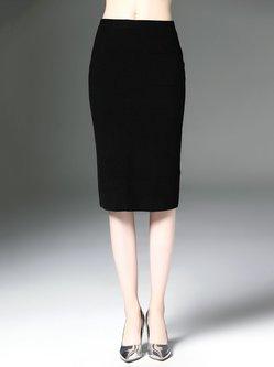 Black Plain Elegant Cashmere Midi Skirt