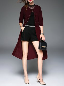 Wine Red Girly Pleated Buttoned A-line Plain Coat