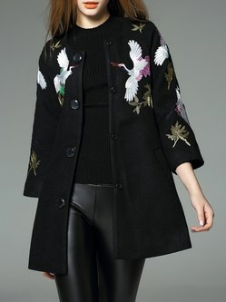 Black Long Sleeve Wool Blend Embroidered A-line Coat