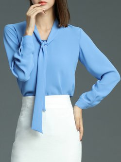 Long Sleeve Simple Plain Blouse