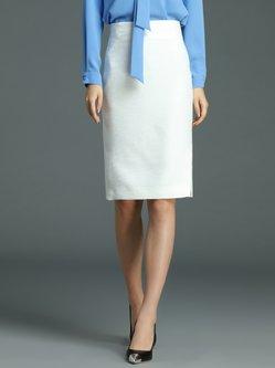 White Plain Simple H-line Midi Skirt