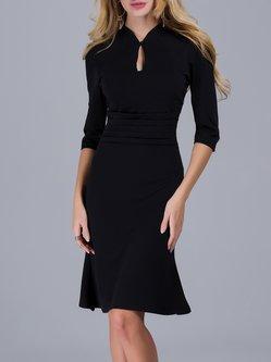 Black Pleated Elegant Keyhole Solid Midi Dress