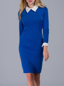 Long Sleeve Shirt Collar Elegant Midi Dress