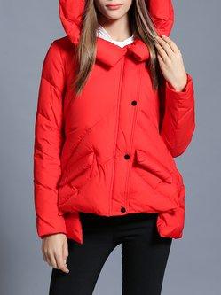 Red Solid Asymmetrical Casual Hoodie Down Coat