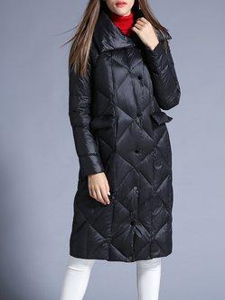 Black H-line Long Sleeve Solid Down Coat