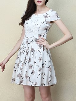 White Short Sleeve Folds Summer Mini Dress