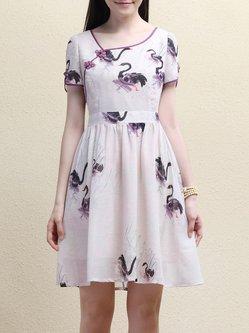 Purple Printed Short Sleeve Polyester Mini Dress