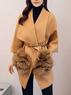 Camel Simple Shawl Collar Fluffy Coat