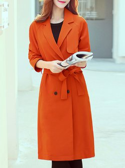 Orange Lapel Buttoned Elegant Trench Coat With Belt