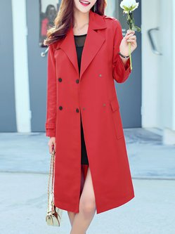 Red Buttoned H-line Elegant Trench Coat With Belt
