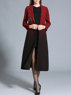 Elegant A-line Ombre/Tie-Dye Color-block Long Sleeve Coat