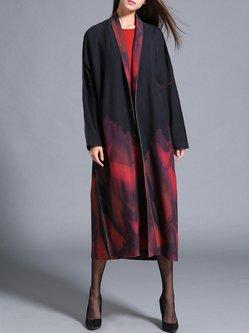 Long Sleeve Ombre/Tie-Dye V Neck Casual Coat