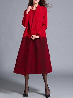 Red Dyed Stripes Lapel Color-block Coat