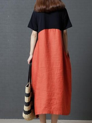 Shift Daily Short Sleeve Casual Color-block Linen Dress