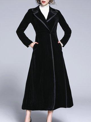 online store 9edbf 32f97 Black Solid Lapel Elegant Trench Coat