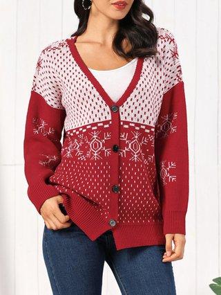 Christmas Long Sleeve Shift Casual Sweater Cardigans Stylewe