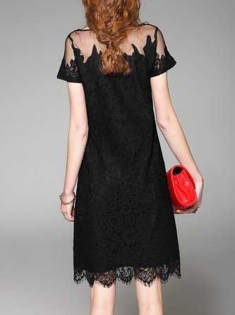 Black A-line Daily Short Sleeve Lace Casual Crocheted Midi Dress