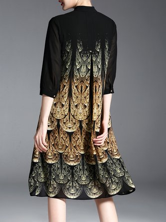 Stand Collar Black A-line Daily 3/4 Sleeve Printed Midi Dress