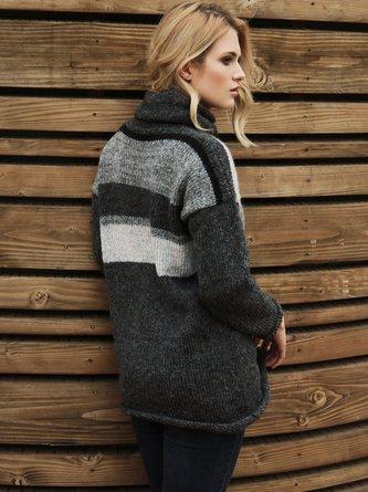 Black Cowl Neck Long Sleeve Stripes Sweater