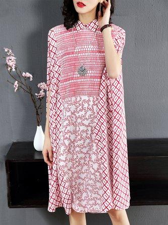 Shirt Collar Pink Shift Cape Sleeve Casual  Midi Dress