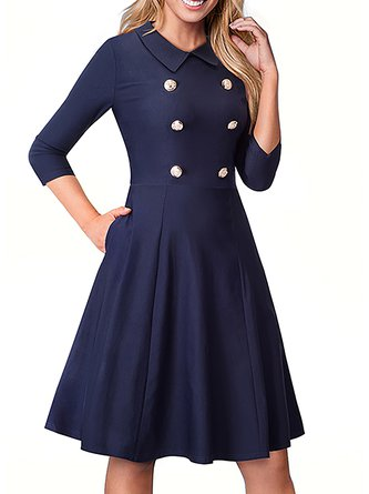 Shirt Collar  Swing Party 3/4 Sleeve Elegant Buttoned Solid Midi Dress