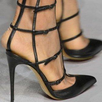 Black Stiletto Heel Summer Buckle PU Heels