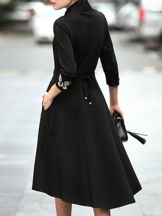 Asymmetric V neck Elegant Midi Dress