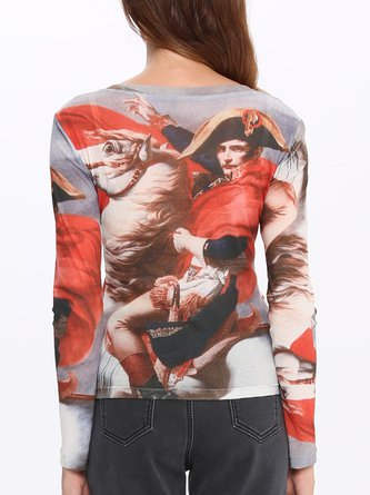 Red Printed Long Sleeve Crew Neck Tops