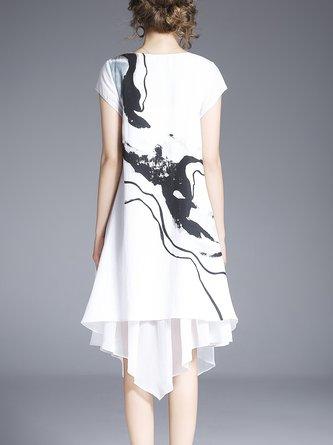 Asymmetrical Short Sleeve Cotton  Linen Dress