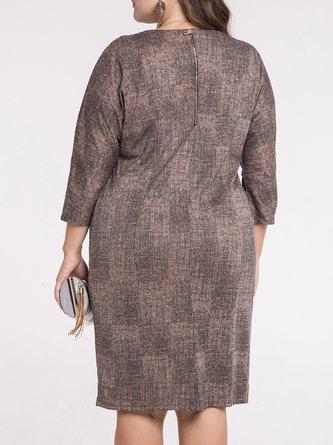 Coffee Buttoned 3/4 Sleeve Midi Dress