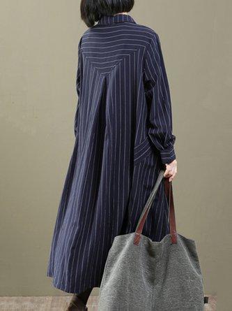 Folds Casual Cotton Long Sleeve Linen Dress