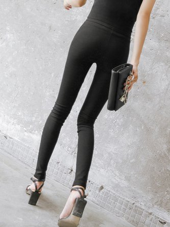 Black Buttoned Casual Solid Skinny Leg Pants