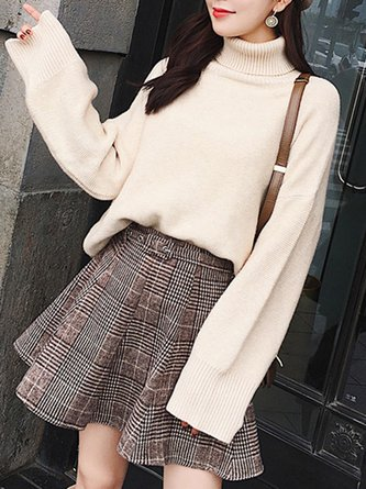 Beige Two Piece Long Sleeve Turtleneck Checkered Top With Skirt