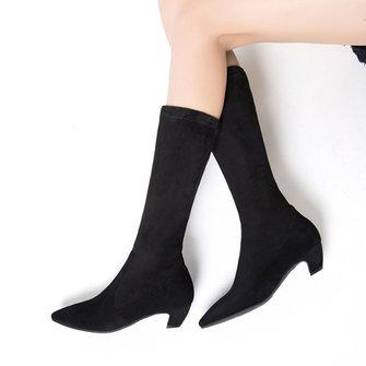 Chic Suede Kitten Heel Sock Boots