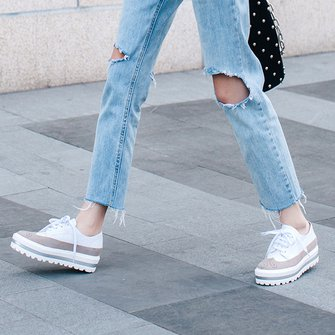 White Casual Lace-up All Season Sneakers