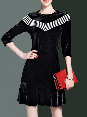Black Flounce Velvet Casual Paneled  Midi Dress
